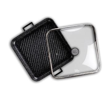 """תמונה של פלטת גריל עם מכסה זכוכית 34*34 ס""""מ BLACK MARBLE"""